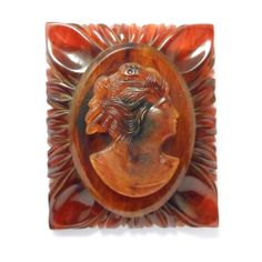 Vintage Carved Bakelite Cameo Brooch