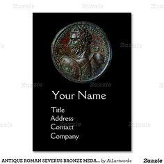 ANTIQUE ROMAN SEVERUS BRONZE MEDALLION MONOGRAM LARGE BUSINESS CARDS (Pack OF 100)