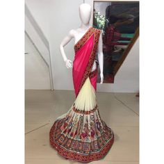 Latest Kachhi Red Color Pure Embroidery With Real Mirror Work Saree at just Rs.1350/- on www.vendorvilla.com. Cash on Delivery, Easy Returns, Lowest Price