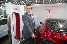 Tesla CEO Elon Musk at a Tesla Supercharger with Tesla Model S. For more, visit: www.evannex.com