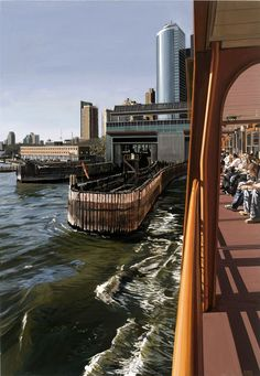 Richard Estes - photorealistic painting - Staten Island Ferry