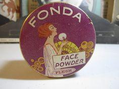 1920's Art Deco Face powder box Fonda wonderful graphics of deco lady powdering her face holding fan.
