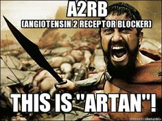 "Pharmacy Humor: A2RB (Angiotensin 2 Receptor Blocker) - This is ""ARTAN""! The suffix ""ARTAN"" will help in identifying some HBP medications."