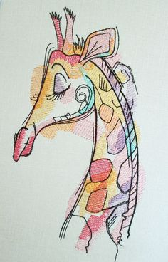 machine embroidery designs new Embroidery On Clothes, Machine Embroidery Projects, Applique Embroidery Designs, Machine Embroidery Applique, Embroidery Art, Giraffe Drawing, Drawing Animals, Design Design, Giraffe Nursery