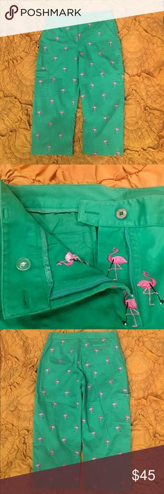 Selling this Lilly Pulitzer White Tag Pink Flamingo Golf Capris on Poshmark! My username is: storeshelf13. #shopmycloset #poshmark #fashion #shopping #style #forsale #Lilly Pulitzer #Pants