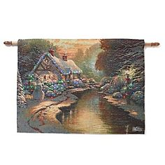 Thomas Kinkade Wall Hanging Tapestry - Christmas Evening/Still Water Cottage at HSN.com.