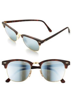Ray-Ban 'Flash Clubmaster' 51mm silver Sunglasses $170