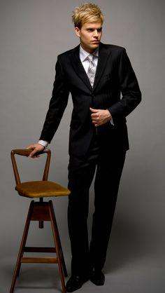 2 Button Black Pinstripe Suit