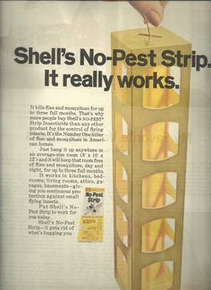1970 Shell No Pest Strip  Magazine ad.         This is an original ad and is approximately 9 1/2  x 12 ½ .  .        ..