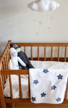 DIY Star Printed Muslin Swaddle Blanket