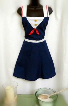 Red, white and blue sailor styled apron.