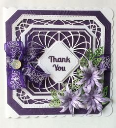 Main dies are Sue Wilson's Noble Dies - Ornate Pierces Squares. Spellbinders Blooms 4 with centres made from Cosmic Pearlescent Vintage Plum. Sue Wilson Finishing Touches - Mosaic Leaves.