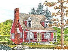 Plan Country, Narrow Lot, Cape Cod House Plans & Home Designs Country House Plans, Dream House Plans, Small House Plans, House Floor Plans, My Dream Home, Cape Cod Cottage, Modern Farmhouse Plans, Rustic Farmhouse, Cabin Plans