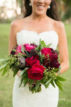 Vibrant + Bold, magenta purple bridal bouquet // Ojai Valley Inn Wedding // Christine Chang Photography
