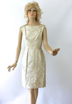 f4b63e4e270f Vintage 60s Cocktail Dress Ivory Satin Brocade w by foreveracharm Brocade  Dresses