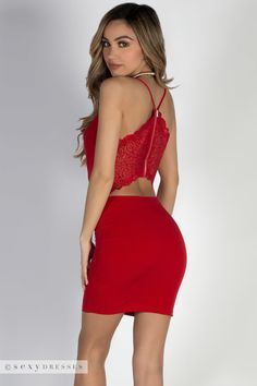 """""""Bad Reputation"""" Red Lace Back Mini Dress - Babe Society Red Hoco Dress, Homecoming Dresses Tight, Hoco Dresses, Homecoming Ideas, Women's Dresses, Formal Dresses, Lace Back Dresses, Short Lace Dress, Tight Dresses"""