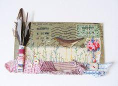 Original mixed media artwork on envelope  Fly away by hensteeth, £55.00