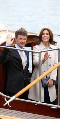 Danish Crown Prince Frederik and Crown Princess Mary arrive for the Tosca opera in Copenhagen.  The royal couple arrived by boat