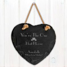 Valentines Gift -  Engraved The One I Love Slate Heart Decoration  - Lovely Gift Idea for Girlfriend, Wife, Fiancee, Husband, Boyfriend.