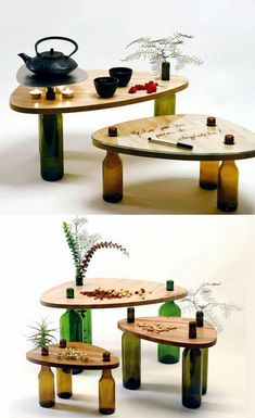 ▷ creative and useful upcycling ideas for inspiration .- ▷ kreative und nützliche Upcycling Ideen zur Inspiration upcycling ideas small tables made of wood and old wine bottles - Old Wine Bottles, Wine Bottle Crafts, Bottle Art, Diy Bottle, Glass Bottles, Upcycled Crafts, Recycled Bottle Crafts, Recycled Wood, Wood Crafts