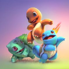 Bulbasaur, Charmander, Squirtle (Pokemon) by Cassio Yoshiyaki Pokemon Charmander, Pokemon 20, Pokemon Party, Bulbasaur, Nintendo Pokemon, Pokemon Fusion, Charizard, Images Kawaii, Fan Art Pokemon