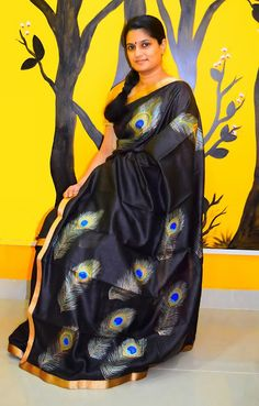 Sneha sister black designer saree saree blouse patterns for Asha mural painting guruvayur