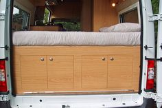 HUGE storage areas, under the bed, can be accessed from the rear of the motorhome. Or put in drawers and make it accessible from interior! Camper Life, Camper Van, Rv Campers, Van Living, Tiny House Living, Converted Vans, Van Dwelling, Van Home, Van Camping
