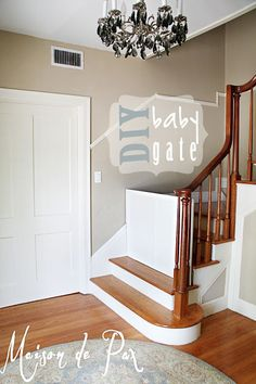 34 Trendy Diy Baby Gate For Stairs Stairways Dog Gates For Stairs, Stair Gate, Diy Dog Gate, Diy Baby Gate, Puppy Gates, Fabric Baby Gates, Kids Gate, Stairways, Diy Home Decor