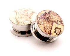 Antique Map Style 2 Picture Plugs gauges - 16g, 14g, 12g, 10g, 8g, 6g, 4g, 2g, 0g, 00g, 7/16, 1/2, 9/16, 5/8, 3/4, 7/8, 1 inch on Etsy, $17.99