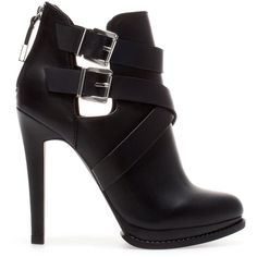 Zara High Heel Ankle Boots With Buckles ($20) ❤ liked on Polyvore featuring shoes, boots, ankle booties, heels, ankle boots, zapatos, black, heeled booties, high heel boots and black bootie