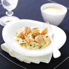 Risotto de Saint-Jacques et fruits de mer Sauce Saint-Jacques au Chablis