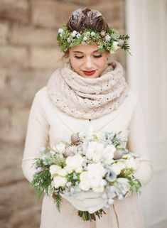 Cozy Winter Wedding Outerwear Looks -- Knit Scarf: Draw the eye upward with a chunky knit scarf.