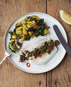 Lemon sole and olive sauce with sweet courgettes and jersey royals   Everyday Super Food by Jamie Oliver