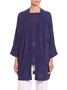 Piazza Sempione Three-Quarter Sleeve Cotton Cardigan - Blue - Size 4