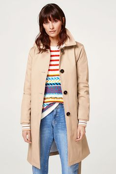 edc - Cotton trench coat with ribbed cuffs