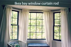 If you have a bay window, then you may empathize with me.  Those curtain rods are crazy expensive!  I have a total of three bay windows in ...
