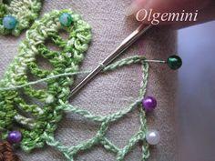 JOINING CROCHET  Outstanding Crochet: Irish Crochet. Even edge of uneven net. Master Class from Olgemini.