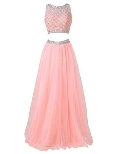 Baby pink two piece ball gown formal prom homecoming special occasion dresses 2015