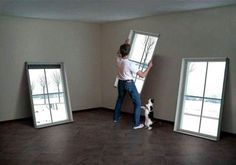 These are the coolest fake windows - you can choose your moving image to go in them! For my basement walls???