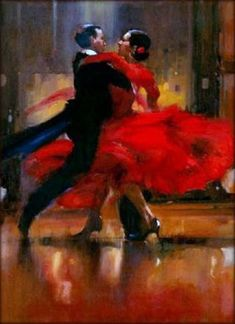 Tango Dancing - contemporary oil painting - 60x80cm,  23,6x31,5in