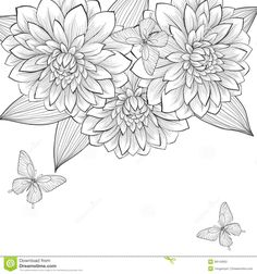 Butterfly Hand Drawn Cards | background with frame of dahlia flowers and butterflies. Hand-drawn ...