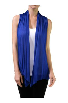 Sleeveless Open Front Cardigan Vest W/ Pockets