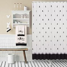 Disney Vintage Black And White Mickey Mouse Shower Curtain Bath Mat Or Towels Not