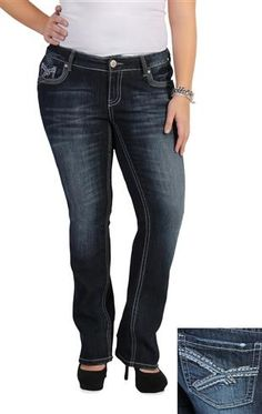 plus size amethyst slim bootcut jean with heavy stitch details