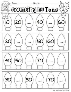 Christmas And Winter Literacy And Math Activities Counting By Tens Christmas And Winter Themed Literacy And Math Worksheets And Centers 100 Pages K 1 Math For Kids, Fun Math, Math Activities, Math Math, School Worksheets, Christmas Math Worksheets, Free Kindergarten Worksheets, Free Printable Worksheets, Christmas Activities