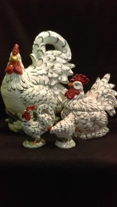 This is a large Rooster Cookie Jar, Rooster Covered  Bowl  and Rooster Salt & Pepper Shakers.  The large Rooster is 10 inches long 6 inches wide and 14 inches tall. Great for a country kitchen, Man's den, or for anyone who collects unusual cookie jars. The second  Jar is 8 tall, 8 inches long and 6 inches wide. the salt and pepper shakers are 4 inches long, 2 1/2 inches wide and 5 inches tall. Big Family of Roosters collection. Made in China. | Shop this product here…
