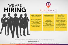 Urgent at for the post of Graphic designer, Business Development Executive and Inside Sales Executive. Send your updated resume on info PlaceMax Consultancy Services We Are Hiring, Good Communication, Job Opening, Job S, Mumbai, Resume, How To Apply, Graphic Design, Business