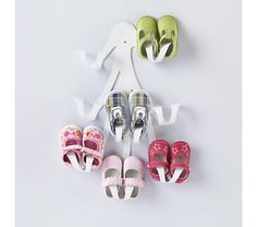 Kids' Storage: Kids' Shoe Wall Hook from Land of Nod #genius organizing and cute!