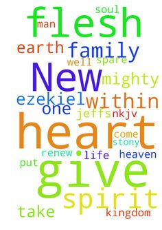 New man -  Then I will give them one heart, and I will put a new spirit within them, and take the stony heart out of their flesh, and give them a heart of flesh, Ezekiel 1119 NKJV Lord, renew Jeffs spirit. Spare his soul and give his family life as well in the mighty name of Jesus I ask. Let your kingdom come on earth as it is in heaven. Amen  Posted at: https://prayerrequest.com/t/FQZ #pray #prayer #request #prayerrequest