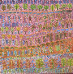 Margaret Kemarre Ross Bush Flowers and Bush Medicine Plants Acrylic on linen, 79 x 61cm Artists of Ampilatwatja Eastern Desert, NT. For more Aboriginal art visit us at www.mccullochandmcculloch.com.au #aboriginalart #australianart #contemporaryart